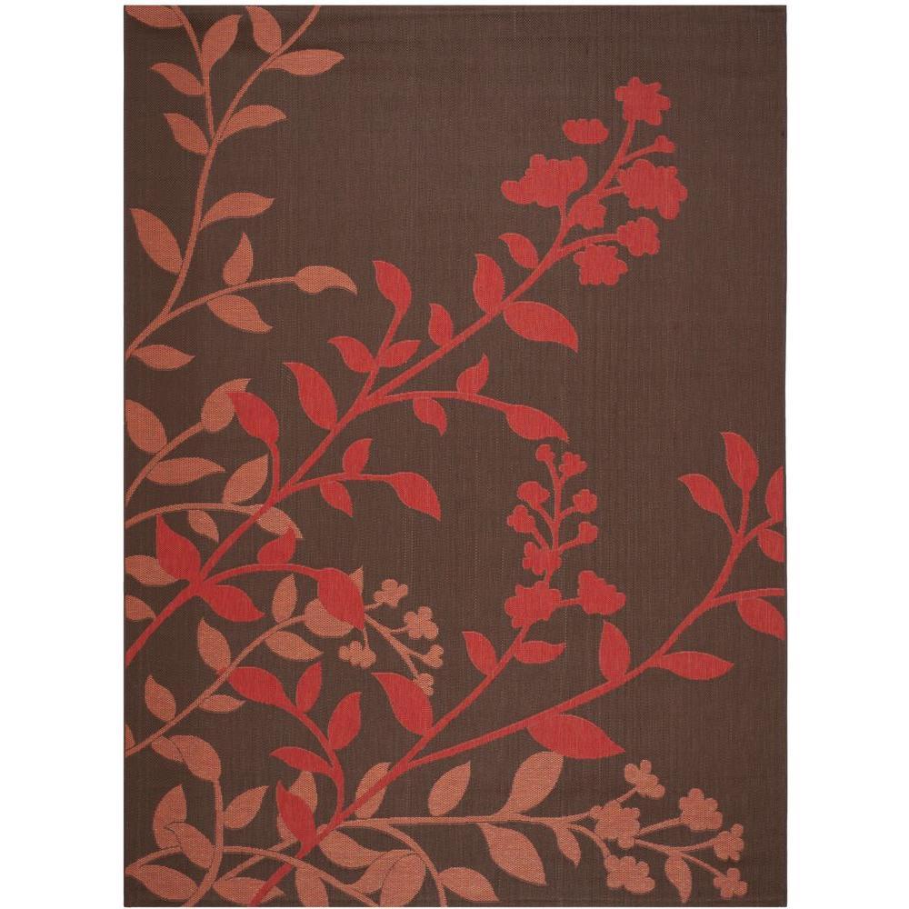 Courtyard Chocolate/Red 8 ft. x 11 ft. Indoor/Outdoor Area Rug