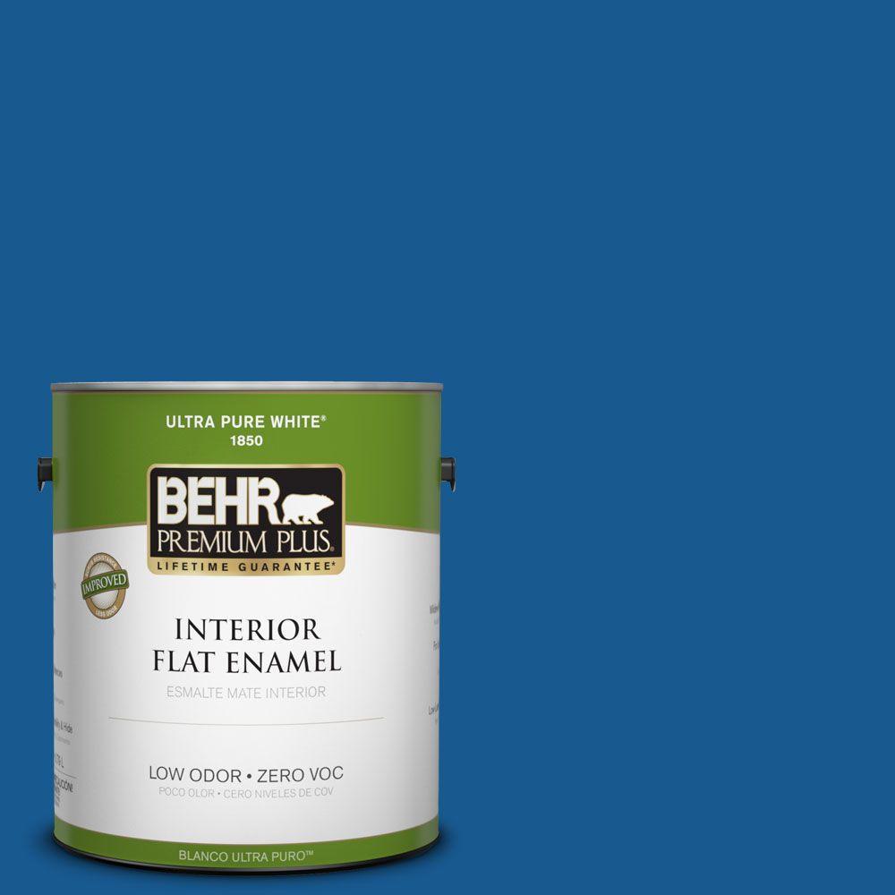 BEHR Premium Plus 1-gal. #S-G-570 Sapphire Lace Zero VOC Flat Enamel Interior Paint-DISCONTINUED