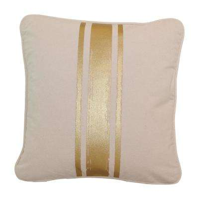 16 in. x 16 in. Natural with Gold Paintstroke Stripes Brushed Canvas  Standard Pillow with Green Eco Friendly Insert