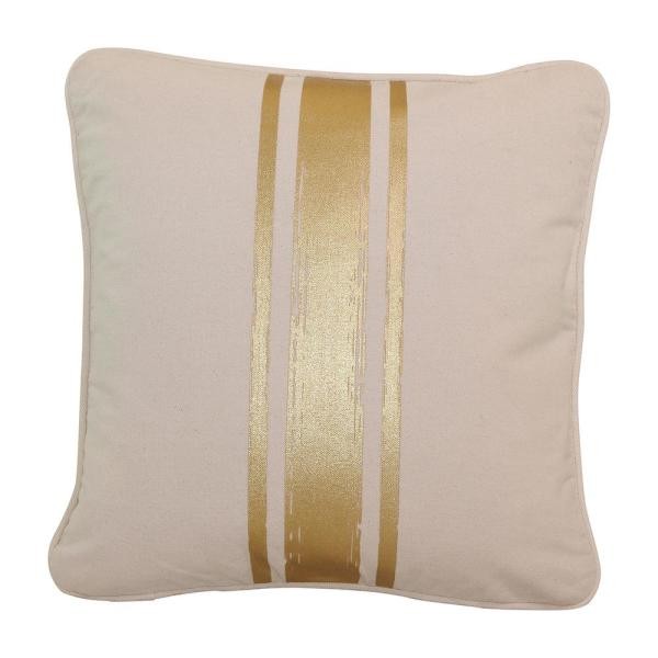 Paint Stroke Natural and Gold Stripes Striped Cotton 16 in. x 16 in. Throw Pillow