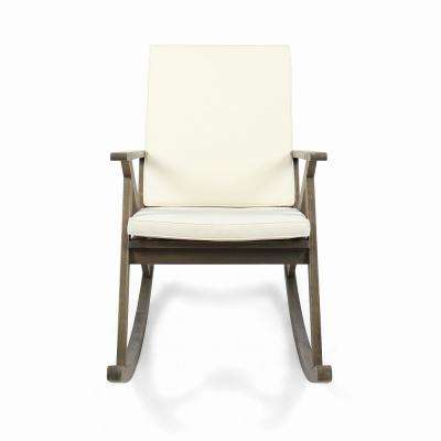 Gus Gray Wood Outdoor Rocking Chair with Cream Cushion