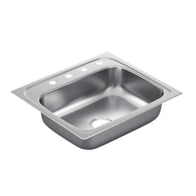 2200 Series Drop-in Stainless Steel 25 in. 4-Hole Single Bowl Kitchen Sink