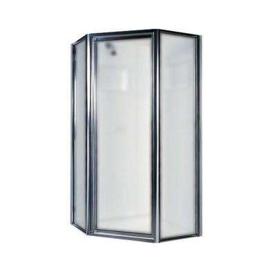 36 in. x 70 in. Neo Angle Framed Pivot Shower Door in Chrome with Frosted Glass