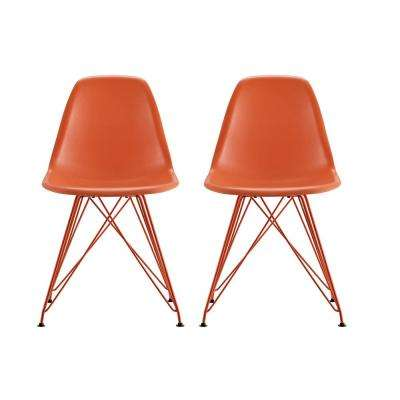 Evelyn Orange Mid Century Modern Molded Chair with Colored Leg (Set of 2)
