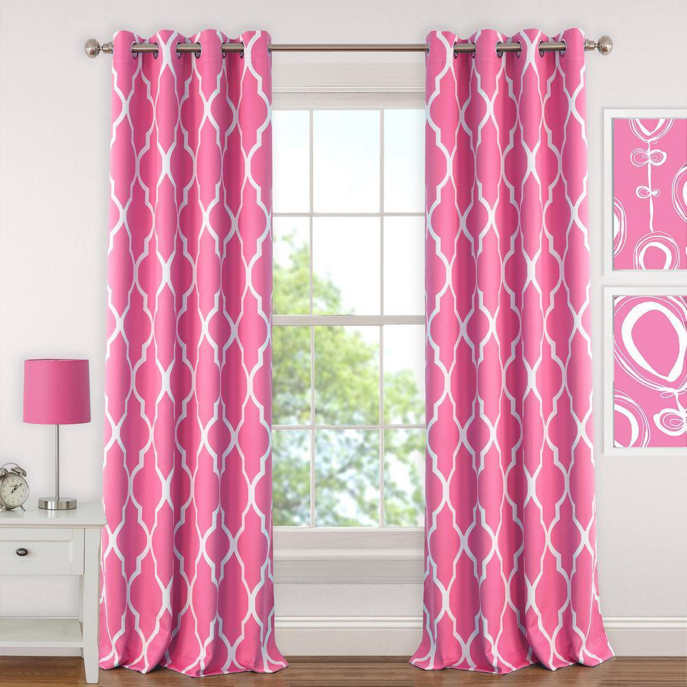 Blackout Emery 52in.Wx95in.L, Juvenile Teen or Tween Blackout Room Darkening Grommet Window Curtain Drape Panel, HotPink