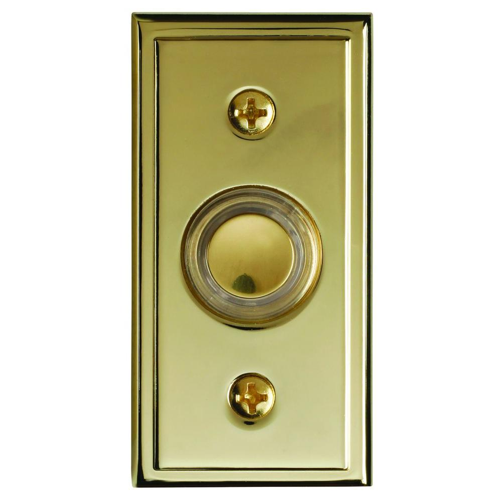 Heath Zenith Wired Polished Brass Finish Push Button