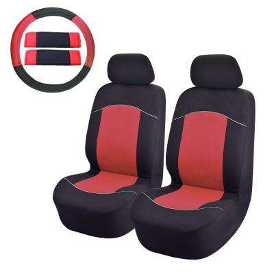 47 in. x 23 in. x 1 in. Front Car Seat Covers For SUV Truck or Van in Red (8-Piece)