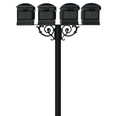 Hanford Quad Non-Locking Mailbox Post System with 4-Lewiston Mailboxes