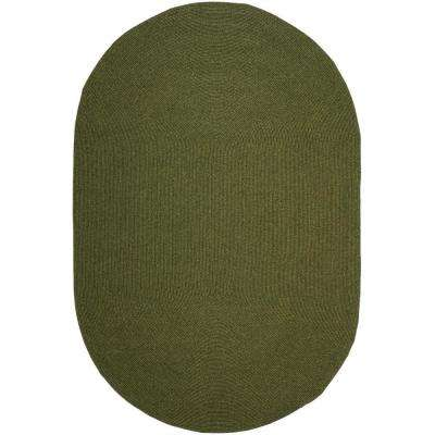 Braided Green 5 ft. x 8 ft. Oval Area Rug