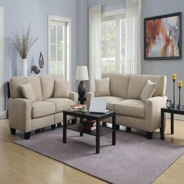 RTA Martinque 73 in. Beige/Espresso Polyester 2-Seater Sofa with Removable Cushions