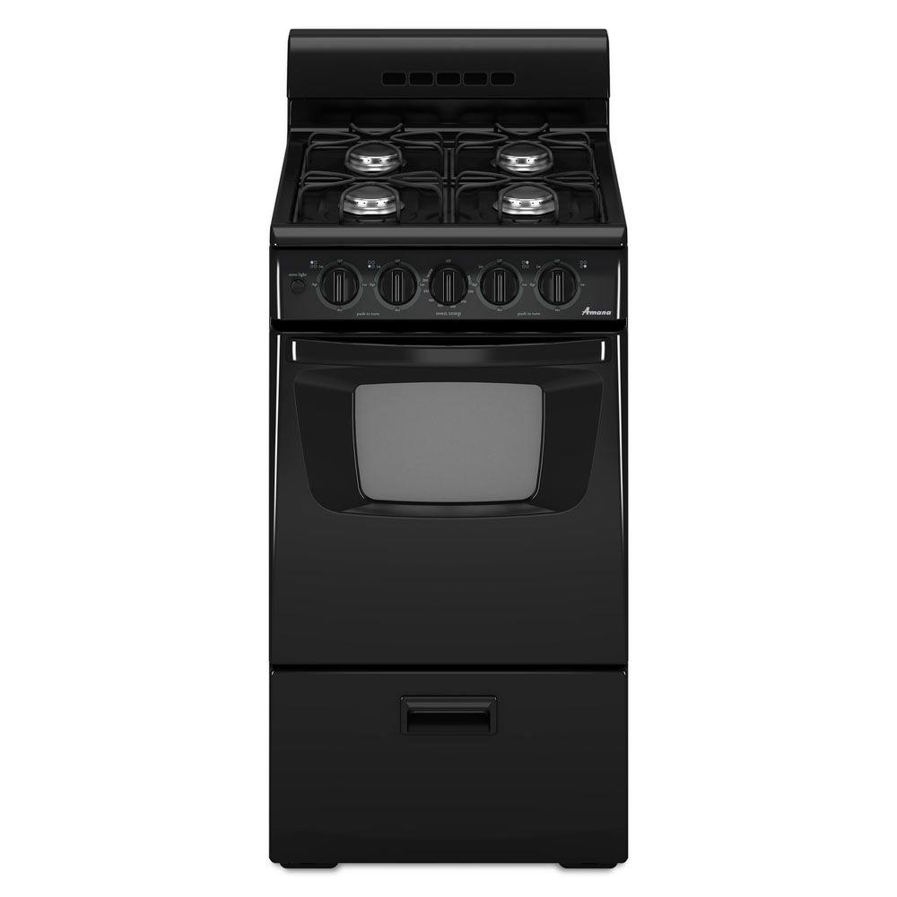 Amana 20 in. Gas Range in Black Sized just right for small spaces, this range also offers contemporary style. The sealed gas burners, two 7,000-BTU and two 9,500-BTU, include electronic ignition. Plus, an oven light and oven window make it easy to check on your food. Color: Black.