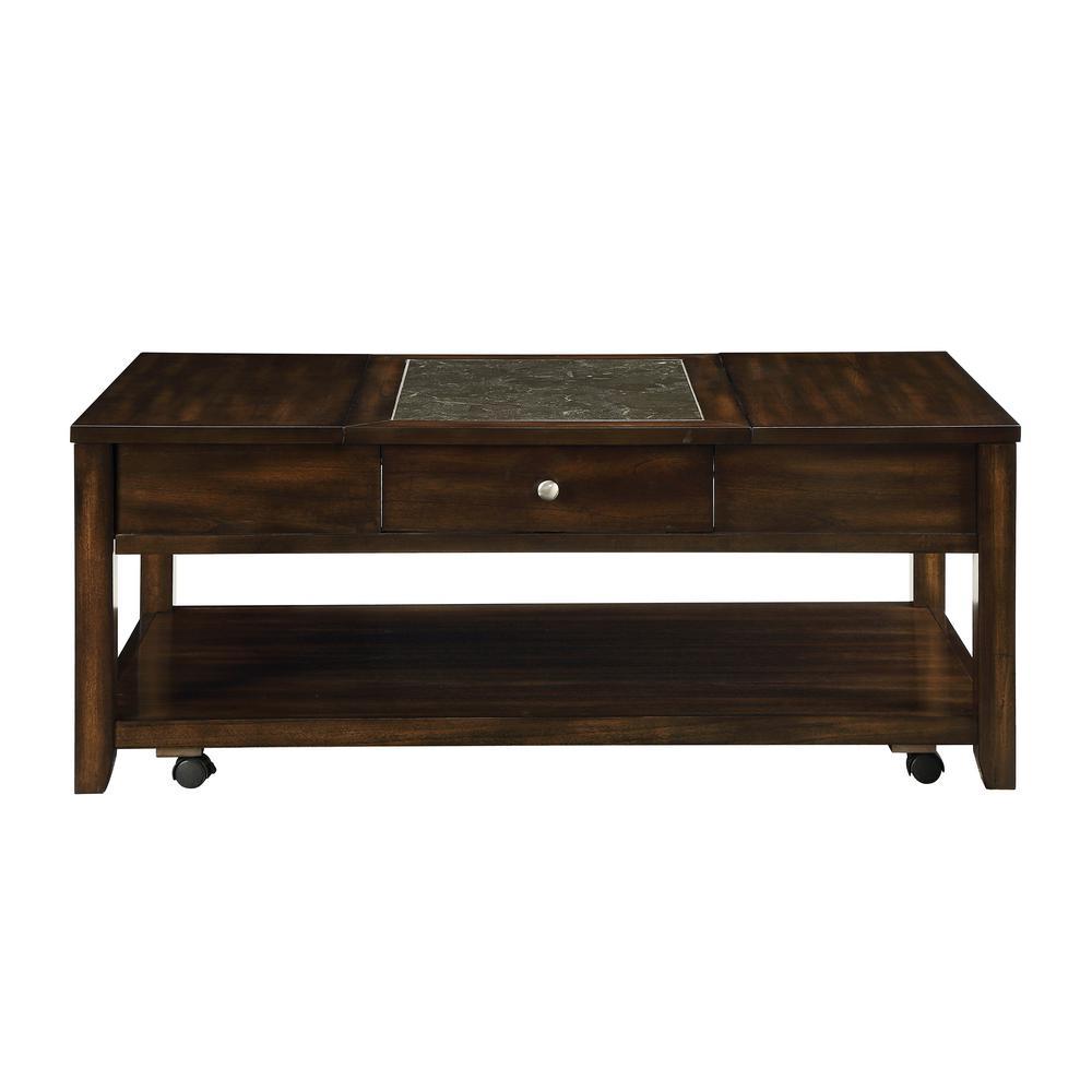 Acme Furniture Cilnia Black Marble and Walnut Coffee Table 83020