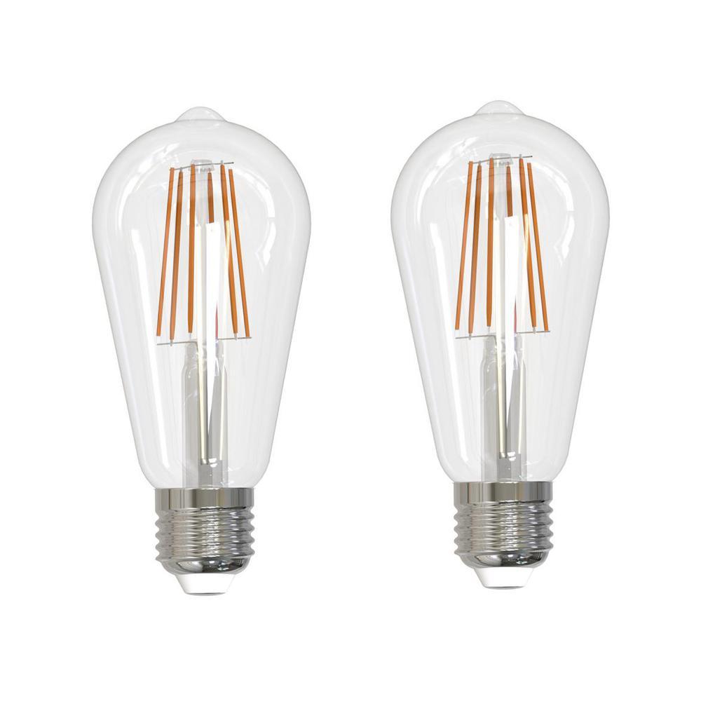 60-Watt Equivalent Soft White Light ST18 Dimmable Filament JA8 LED Light Bulb (2-Pack)