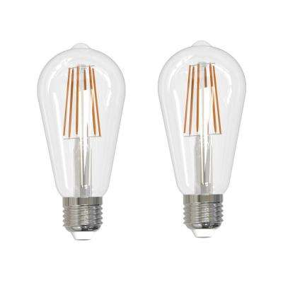 60-Watt Equivalent Soft White Light ST18 Dimmable Filament JA8 LED Light Bulb (2-Pack)