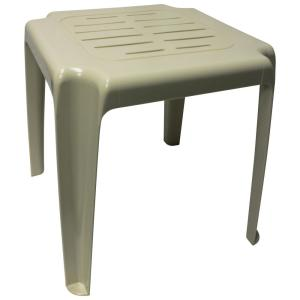 Emsco 17 in. Almond Stackable Slotted Plastic Outdoor Side Table-96630-1 - The Home Depot