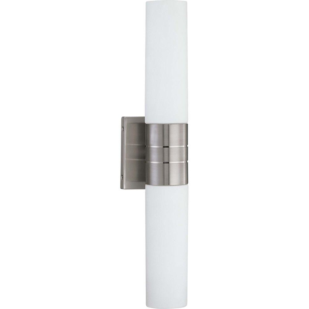 Glomar Loreley 2-Light Brushed Nickel Sconce with White Glass