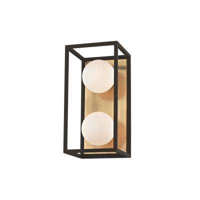Aira 2-Light Aged Brass 10 in. W LED Bath Light with Opal Etched Glass and Black Accents