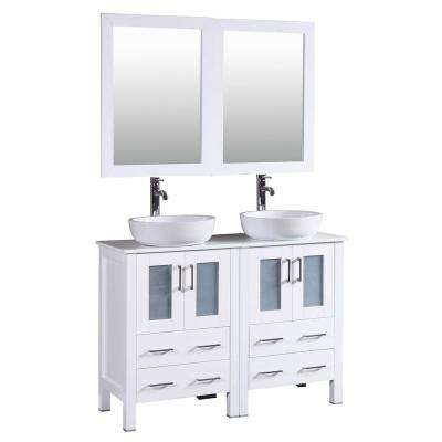48 in. W Double Bath Vanity in White with Carrara Marble Vanity Top with White Basin and Mirror