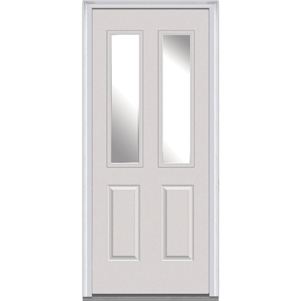 32 in. x 80 in. Left-Hand Inswing 2-Lite Clear 2-Panel Classic Primed Fiberglass Smooth Prehung Front Door