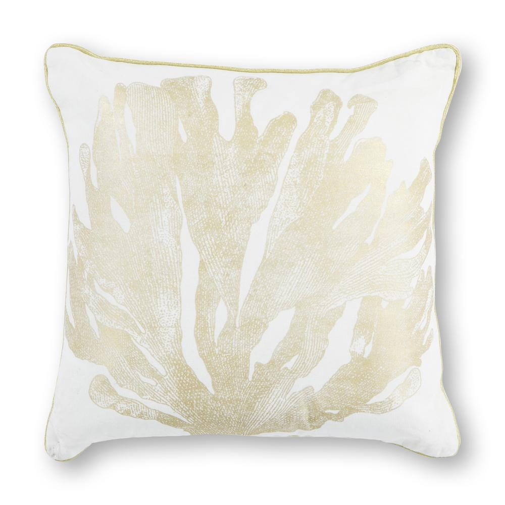Ivory/Gold Coral 18 in. x 18 in. Decorative Pillow