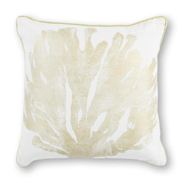Kas Rugs Ivory/Gold Coral 18 in. x 18 in. Decorative Pillow