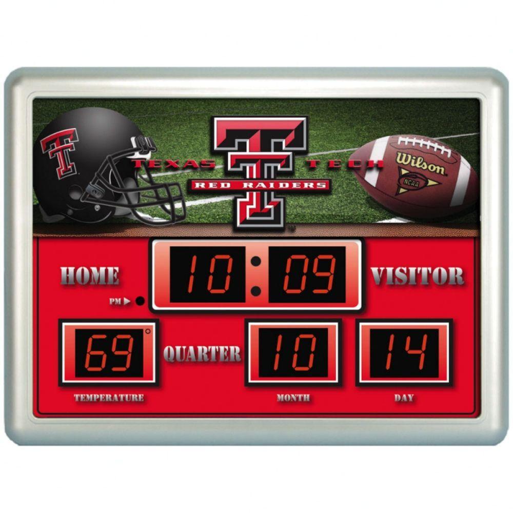 null Texas Tech University 14 in. x 19 in. Scoreboard Clock with Temperature