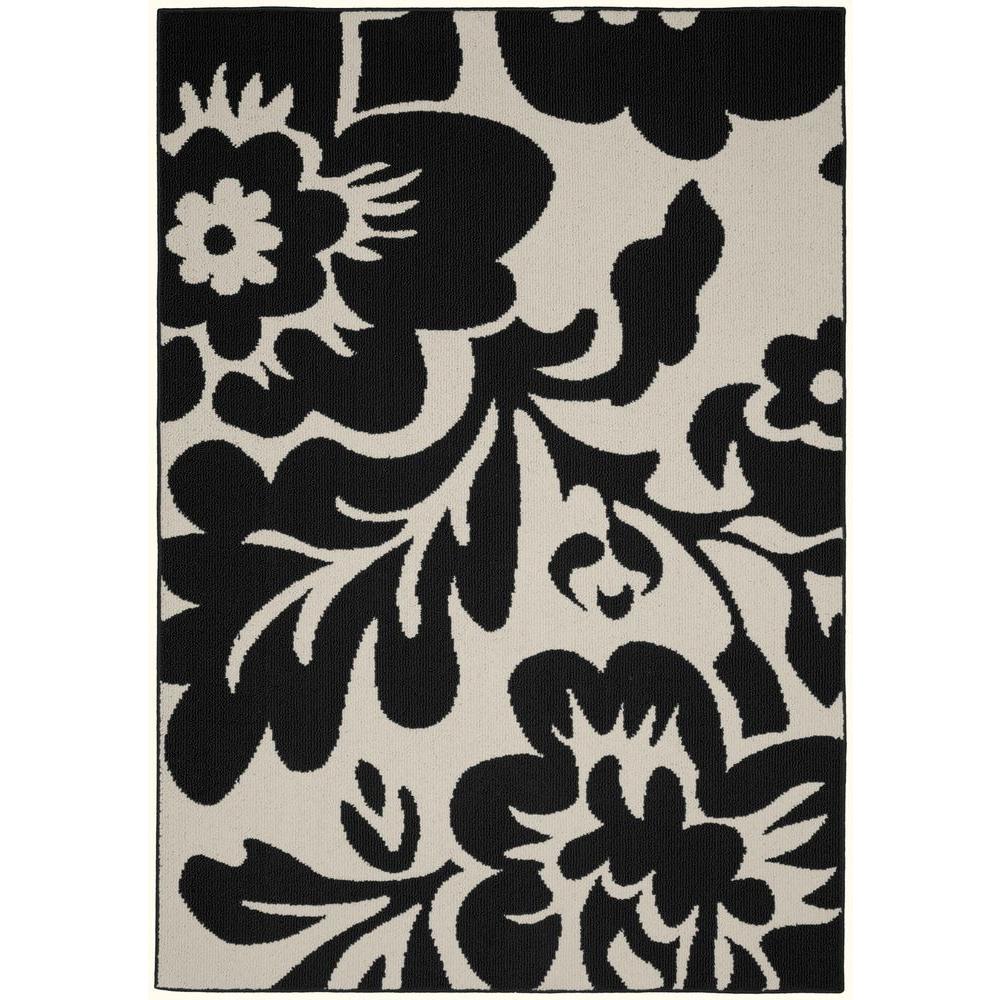 Floral Garden Black/Ivory 5 ft. x 7 ft. Area Rug