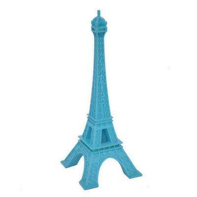 7.25 in. x 7.25 in. Blue Resin Eiffel Tower Tabletop Decoration in Blue