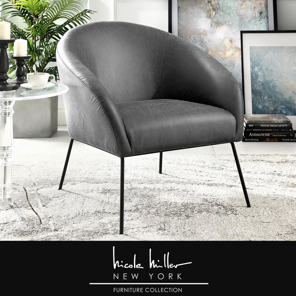 Tremendous Nicole Miller Darrell Light Grey Black Pu Leather Accent Machost Co Dining Chair Design Ideas Machostcouk