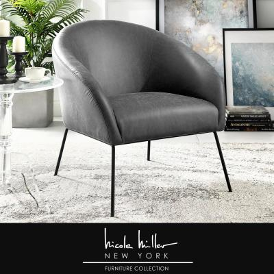 Darrell Light Grey/Black PU Leather Accent Chair with Armless