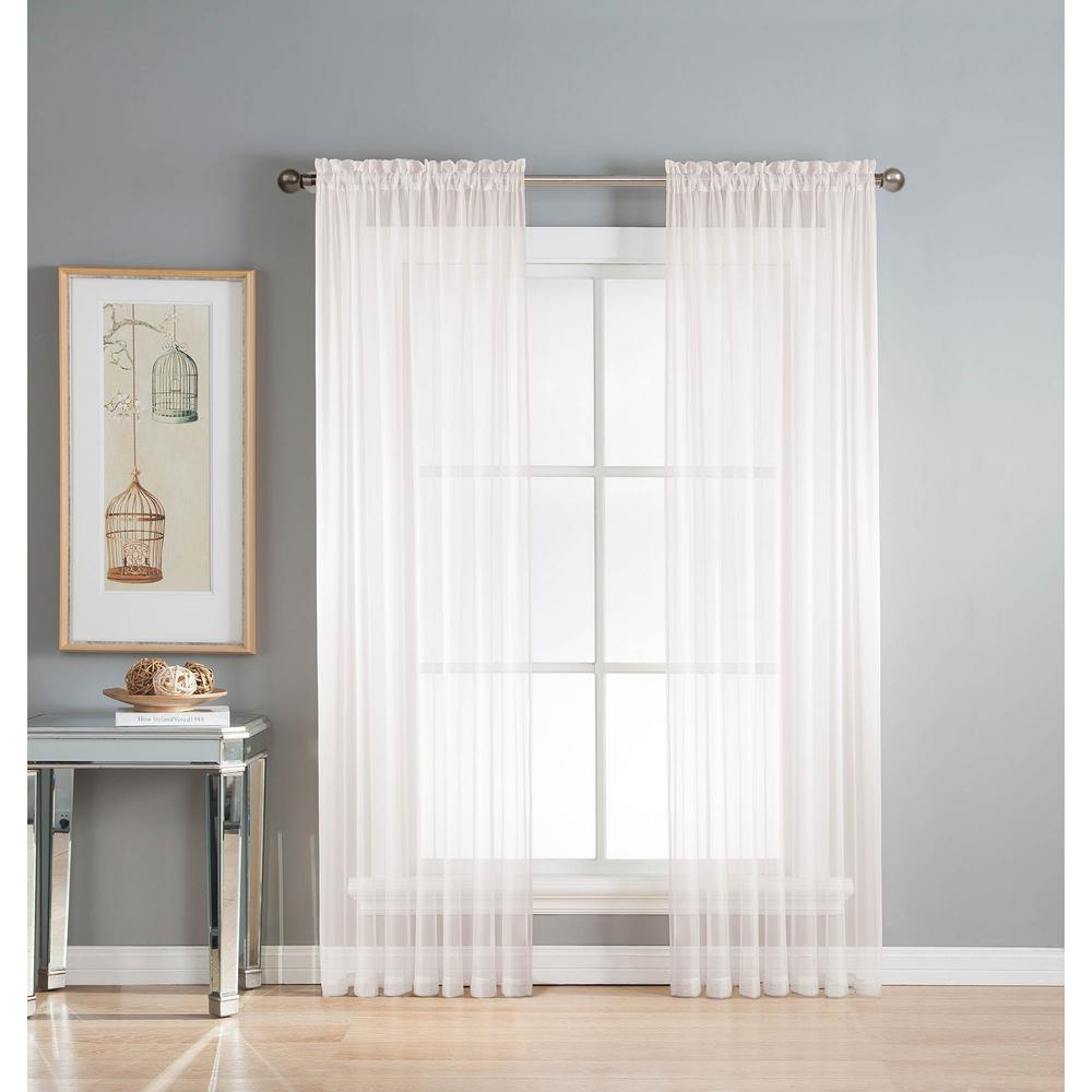 Window Elements Sheer Elegance 84 In L Rod Pocket Curtain Panel Pair White