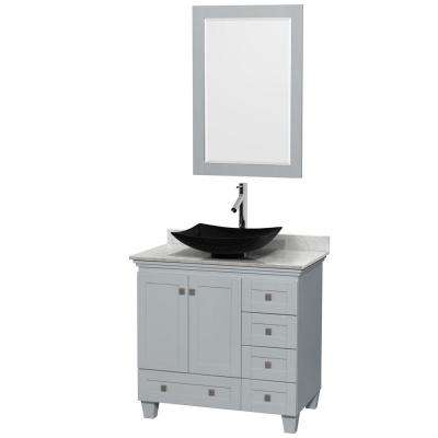 Acclaim 36 in. W x 22 in. D Vanity in Oyster Gray with Marble Vanity Top in Carrera White with Black Basin and Mirror