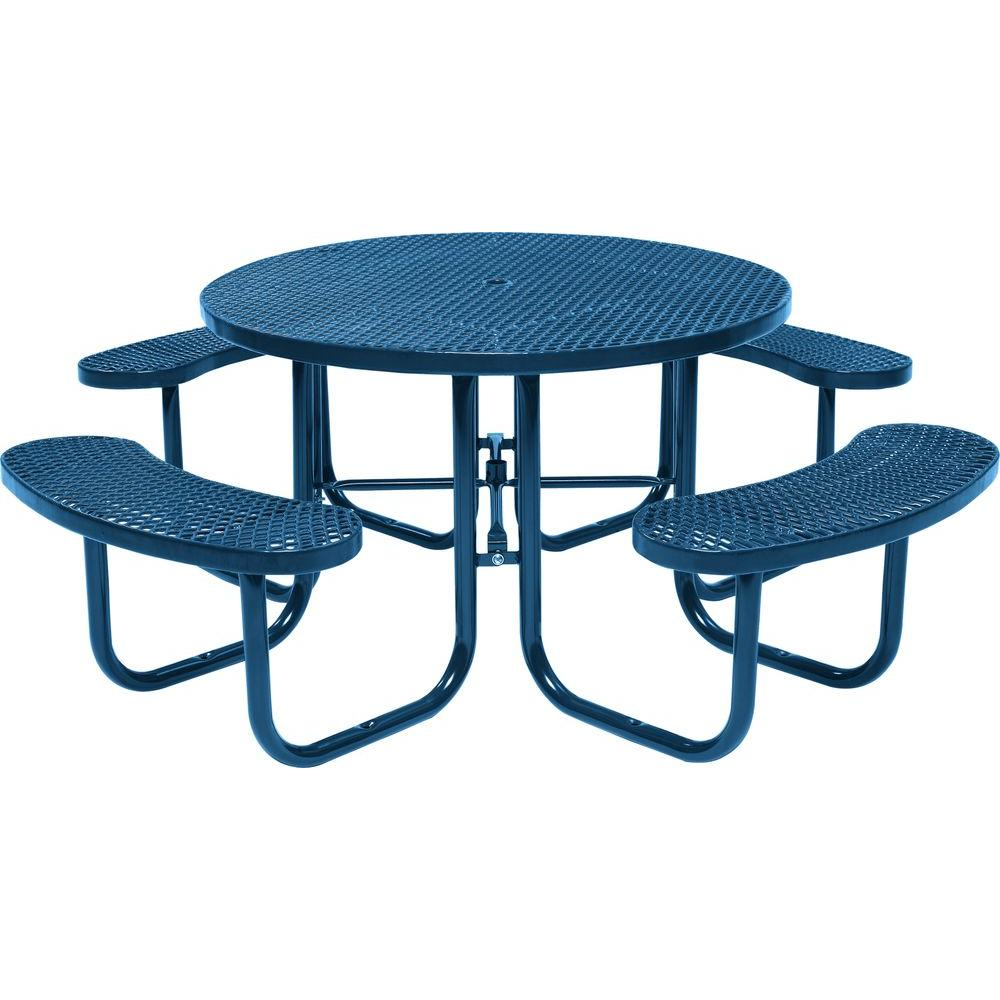 Tradewinds Park 46 in. Blue Commercial Round Picnic Table