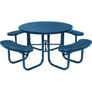 Blue Commercial Round Picnic Table HD D051GS BL   The Home Depot