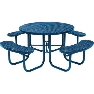 Round metal patio furniture black picnic tables patio tables blue commercial round picnic table watchthetrailerfo