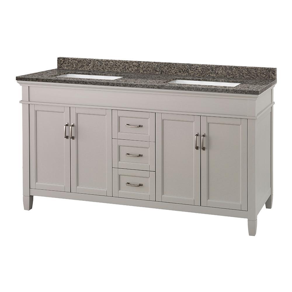 Ashburn 61 in. W x 22 in. D Vanity in Grey with Granite Vanity Top in Sircolo with White Basin