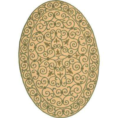 Chelsea Yellow/Light Green 5 ft. x 7 ft. Oval Area Rug
