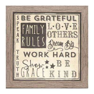 "Homespun Faith Collection ""Family Rules"" by Carpentree Framed Natural Canvas Wall Art"
