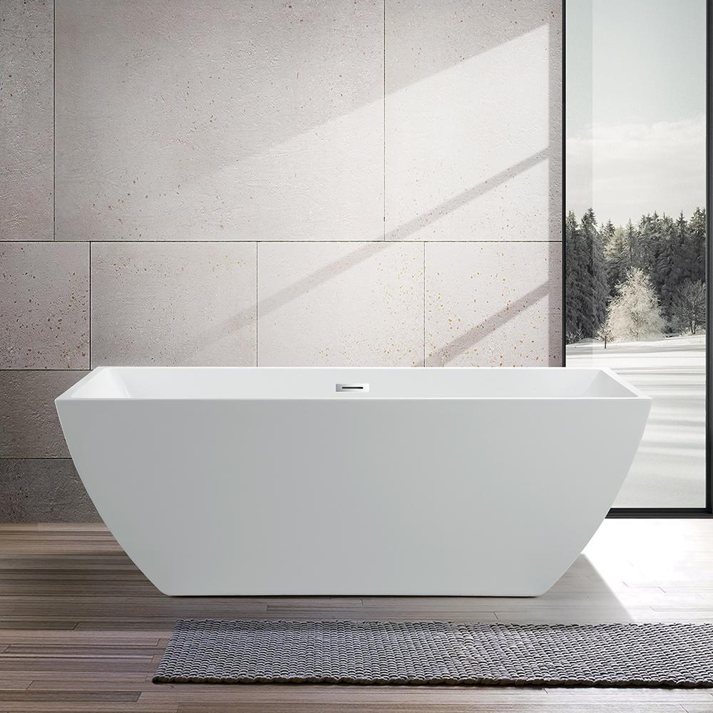 Vanity Art Bordeaux 59 In Acrylic Flatbottom Freestanding Bathtub In White Va6815 The Home Depot