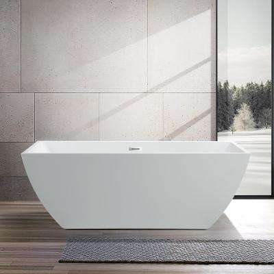 Montpellier 59 in. Acrylic Flatbottom Freestanding Bathtub in White