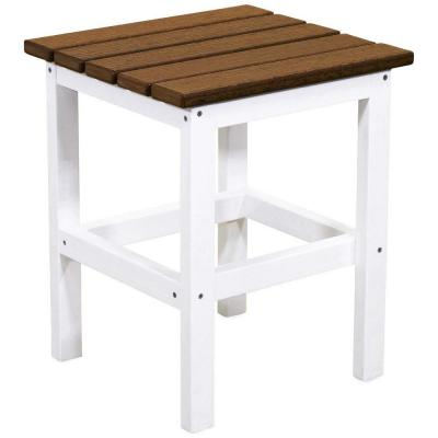 Icon White and Antique Mahogany Square Plastic Outdoor Side Table