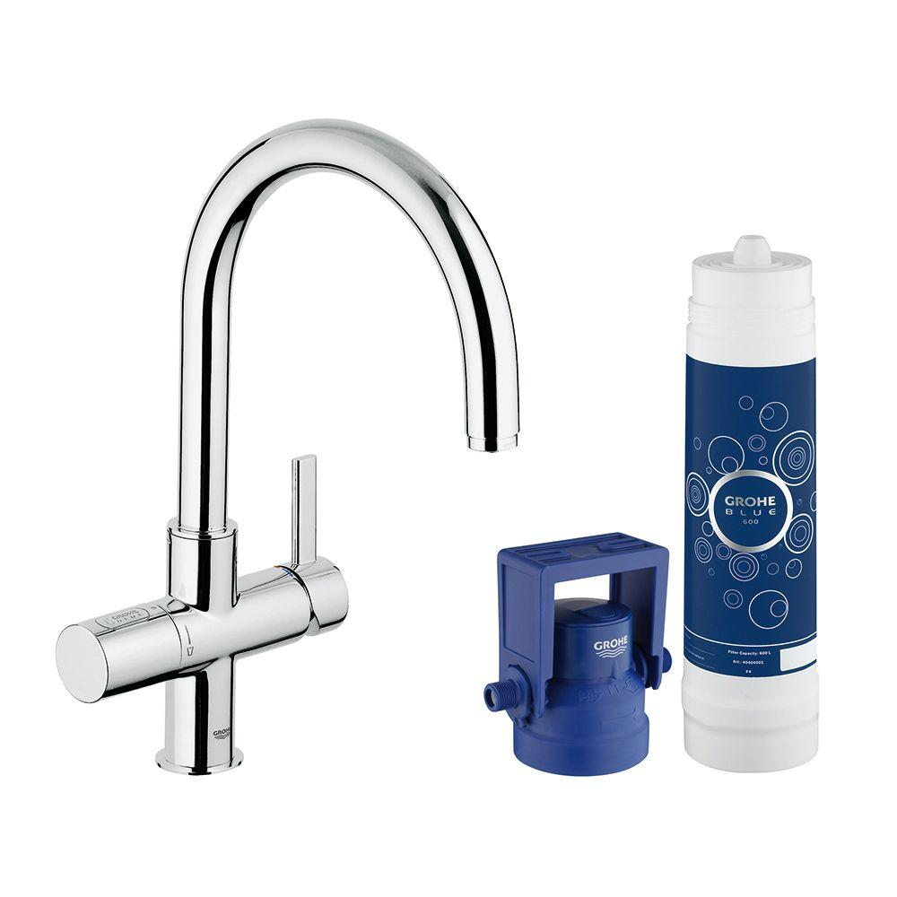 grohe blue pure 2 handle standard kitchen faucet in starlight chrome 31312001 the home depot. Black Bedroom Furniture Sets. Home Design Ideas
