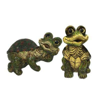 Large Whimsical Turtle 2-Piece Assortment (1-Piece Each Sitting and Lying) Home and Garden Statue