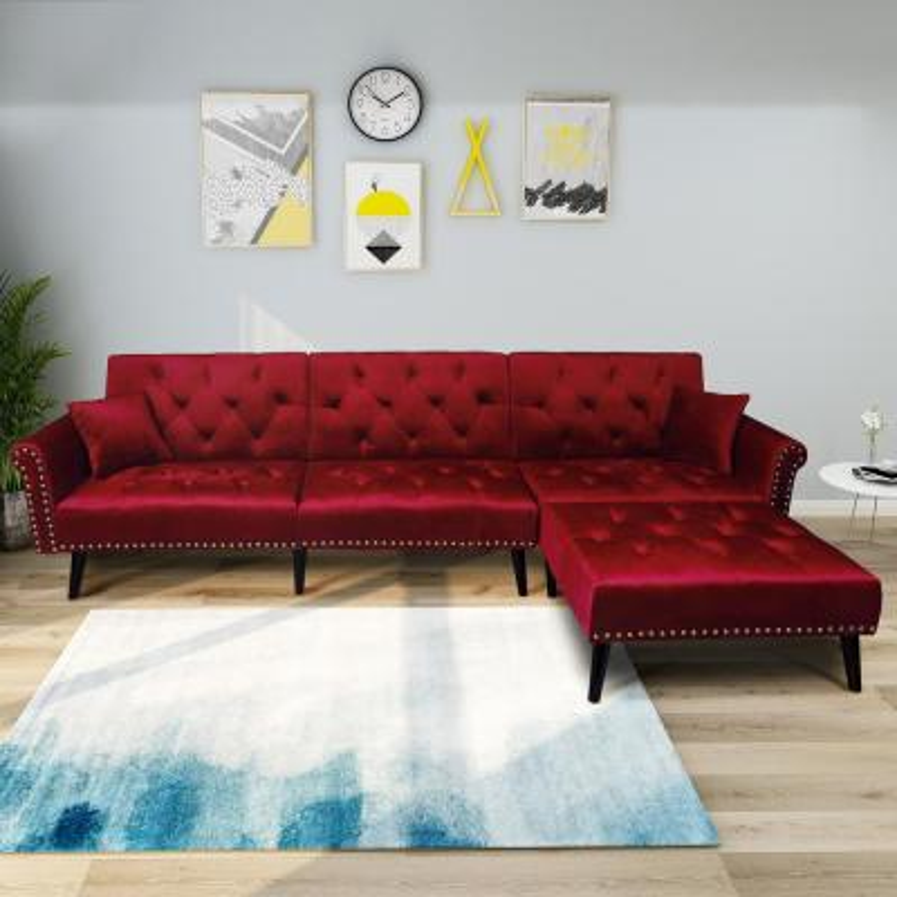Burgundy 2-Piece Modern Vintage Futon Sofa Bed Set