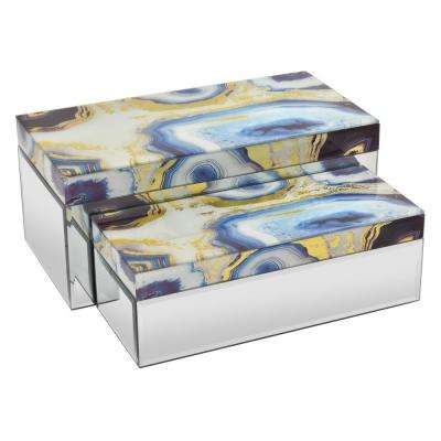14 in. x 6.75 in. x 6 in. Multicolored Glass Mirrored Box (Set of 2)