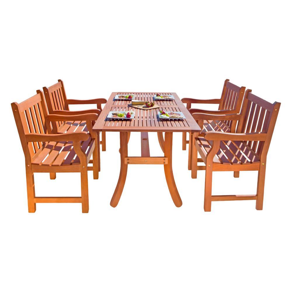 Malibu 5-Piece Wood Rectangle Outdoor Dining Set
