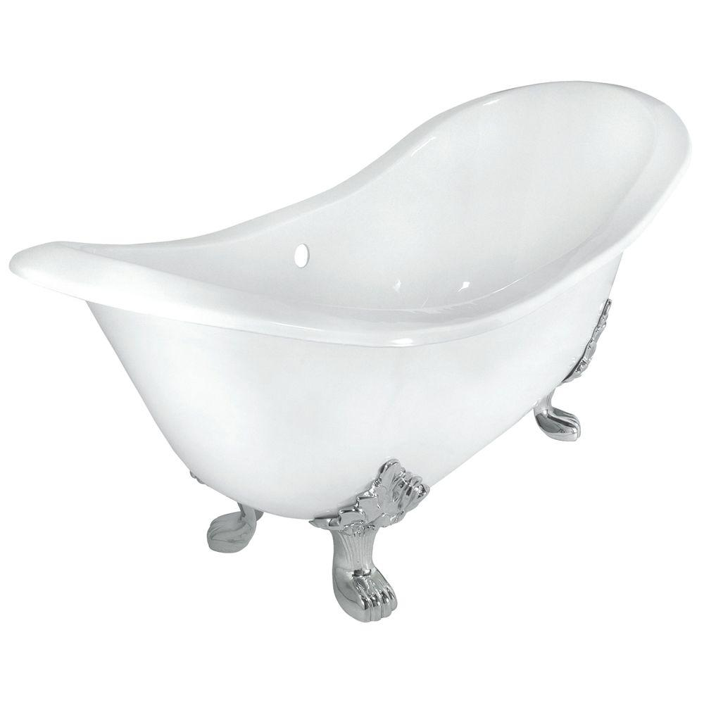 Elizabethan Classics 71 in. Double Slipper Cast Iron Tub Less Faucet Holes in White with Lion Paw Feet in Chrome