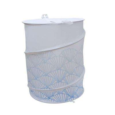 Shell Design Polyester Collapsable Hamper in Blue