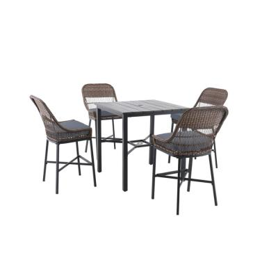 Beacon Park 5-Piece Brown Wicker Outdoor Patio High Dining Set with CushionGuard Steel Blue Cushions