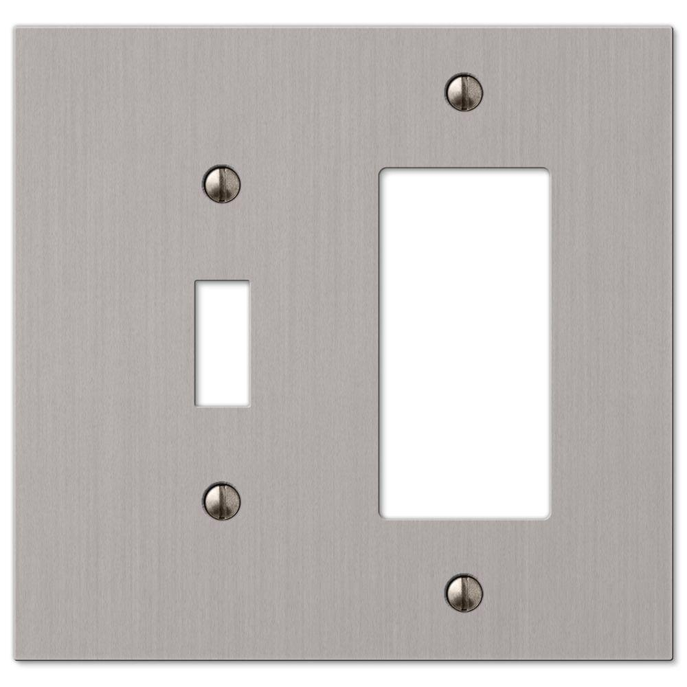hampton bay elan 1 toggle 1 decorator wall plate brushed nickel 55trbn the home depot. Black Bedroom Furniture Sets. Home Design Ideas